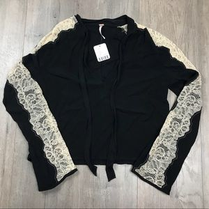 NWT Free People Black Lace Crop Blouse